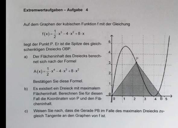 Hilfe bei Matheaufgabe Extremwertaufgaben/Tangente?