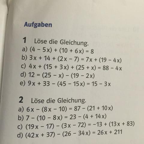 Dies sind die Aufgaben - (Mathe, Mathematik, Gleichungen)