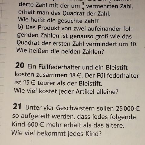 Nur Aufgabe Nr. 20 - (Gleichungen, berechnen, mit )