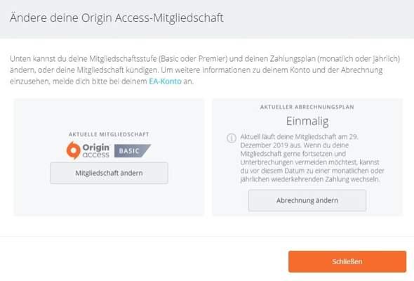 Origin Zahlungsmethoden