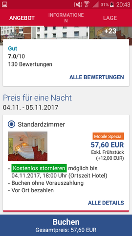 - (Hotel, bezahlen)