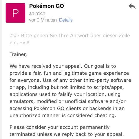 Hier die Nachricht - (Pokemon, Pokemon Go, Go)