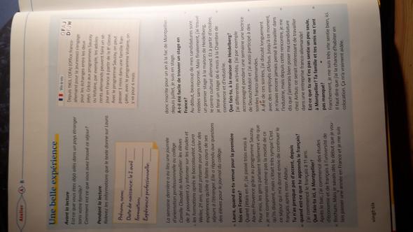 Une belle expérience  - (franzoesisch, text-uebersetzung)
