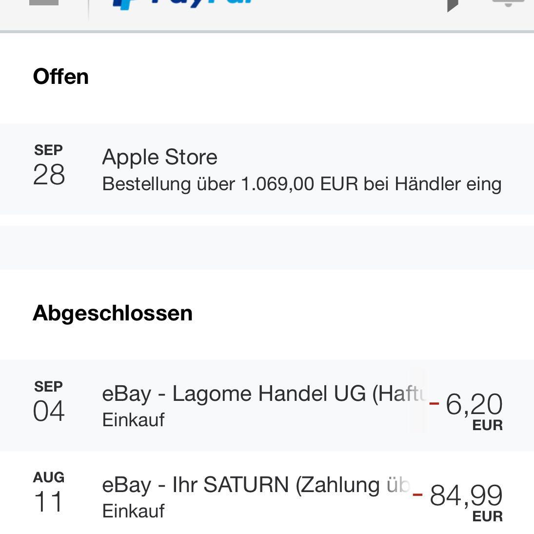 hilfe paypal problem wieso wurde mein geld nicht sofort berwiesen iphone apple ebay. Black Bedroom Furniture Sets. Home Design Ideas