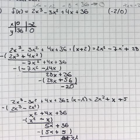 Hilfe!? Polynomdivision? Mathe? (Arbeit, rechnen, Nullstellen)