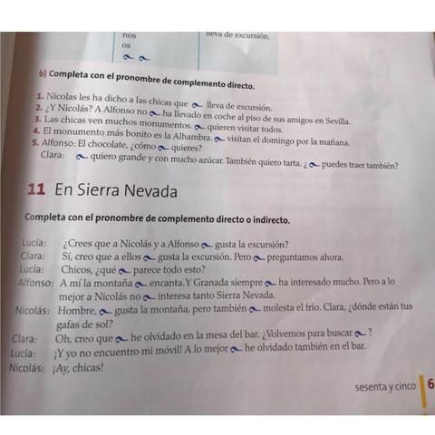 Hilfe! Spanisch 9.Klasse Hausaufgabe pronombres complemento directo ...