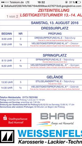 Zeiteinteilung  - (Pferde, reiten, Turnier)