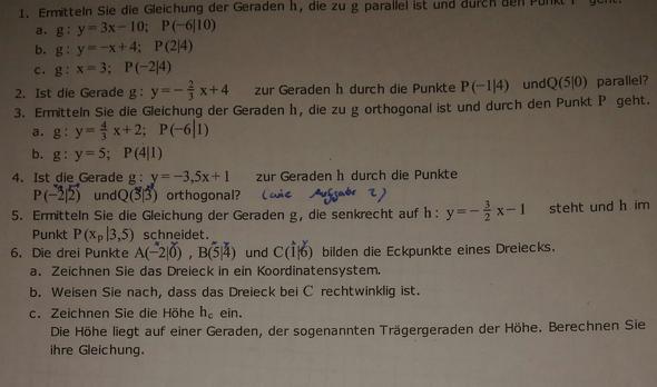 Das wären die Aufgaben. von 2-6  - (Parallel, und orthogonale geraden)