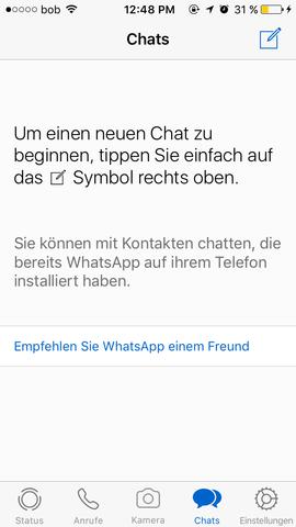 """""""keine Chats"""" - (Handy, WhatsApp, löschen)"""
