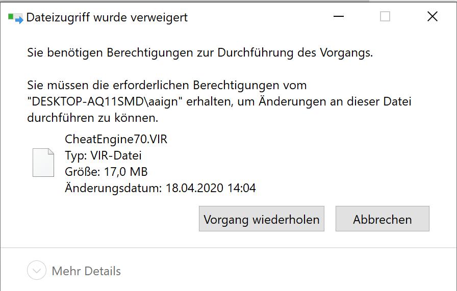 Hilfe! Wie kann ich diese Datei löschen? (Computer