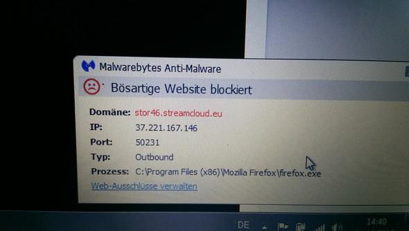meldung von malwarebytes - (Stream, computervirus, adwcleaner)