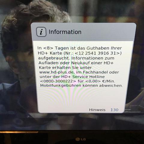 Hinweis 130 geht nicht mehr weg HD-Receiver? (Fernseher, Fehler)