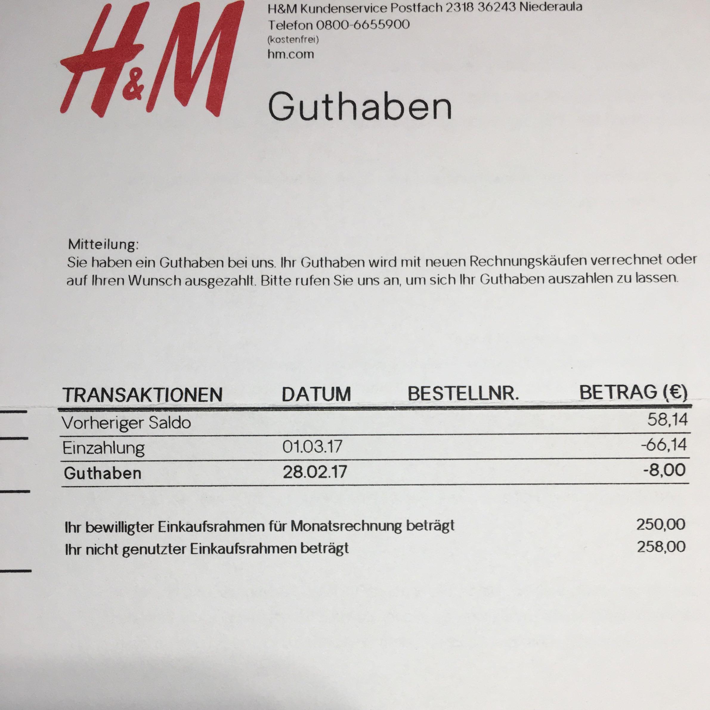 H&m Guthaben Einlösen