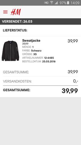 H&M Bestellung Stornieren
