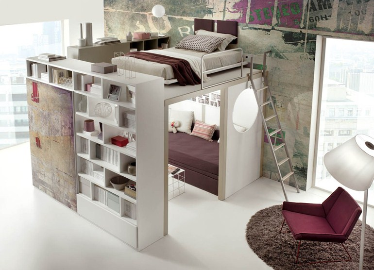 hochbettkonstruktion design zimmer bett. Black Bedroom Furniture Sets. Home Design Ideas