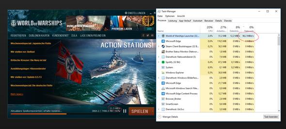 World of Warships Auslastung im Launcher und im Task-Manager - (Netzwerk, Netzwerkauslastung)
