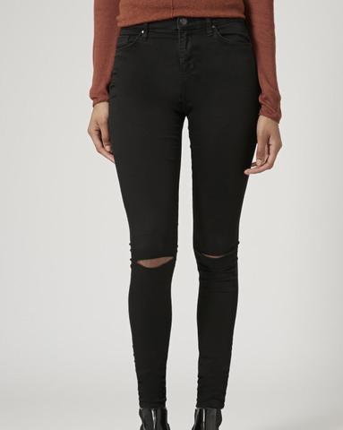 Schwarze jeans mit riss am knie