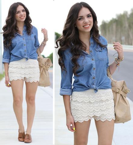 Weiße Shorts  - (Fashion, Shorts)