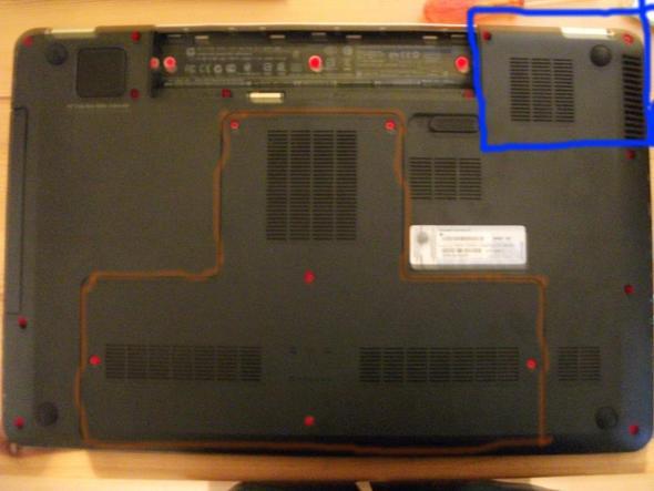 Rot=Schrauben, Orange=Deckel der nicht aufgeht, Blau=Der Lüfter - (Computer, PC, Notebook)