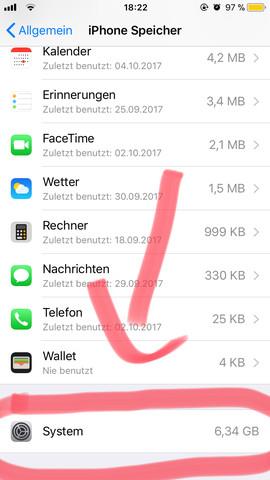 Siehe unten  - (iPhone, Apple, Speicherplatz)