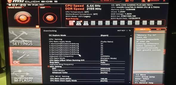 I5 9600k z390 gaming plus übertakten?