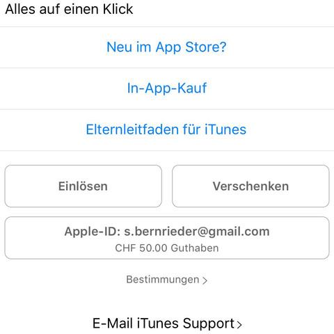 Guthaben 50 CHF  - (Apps, ios, Kreditkarte)