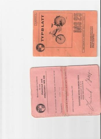 Typblatt PUCH MS 25 + Papiere original - (Motorrad, Mofa, Oldtimer)