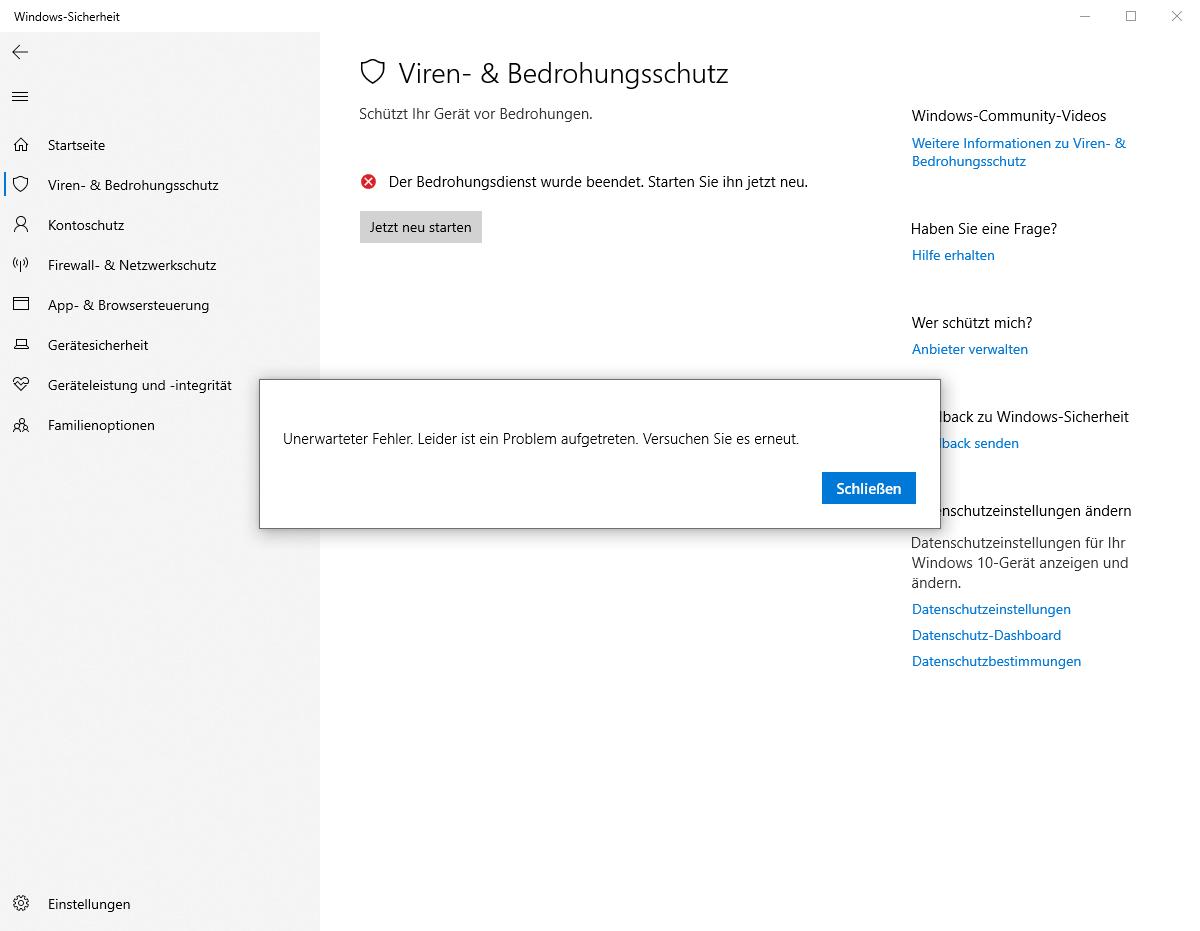 Ich habe ein Problem mit meinem Windows anti virenschutz