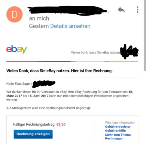 Ich Habe Eine Ebay Rechnung Bekommen Warum Geld