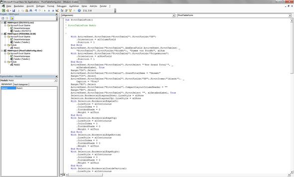 Code darstellung - (Visual Basic, makro)