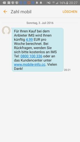 Hier die SMS - (Betrug, SMS)