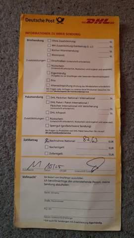 Ich habe etwas bestellt und per Vorkasse bezahlt und die deutsche post schmeiß ein gelben Zettel ein was nun?