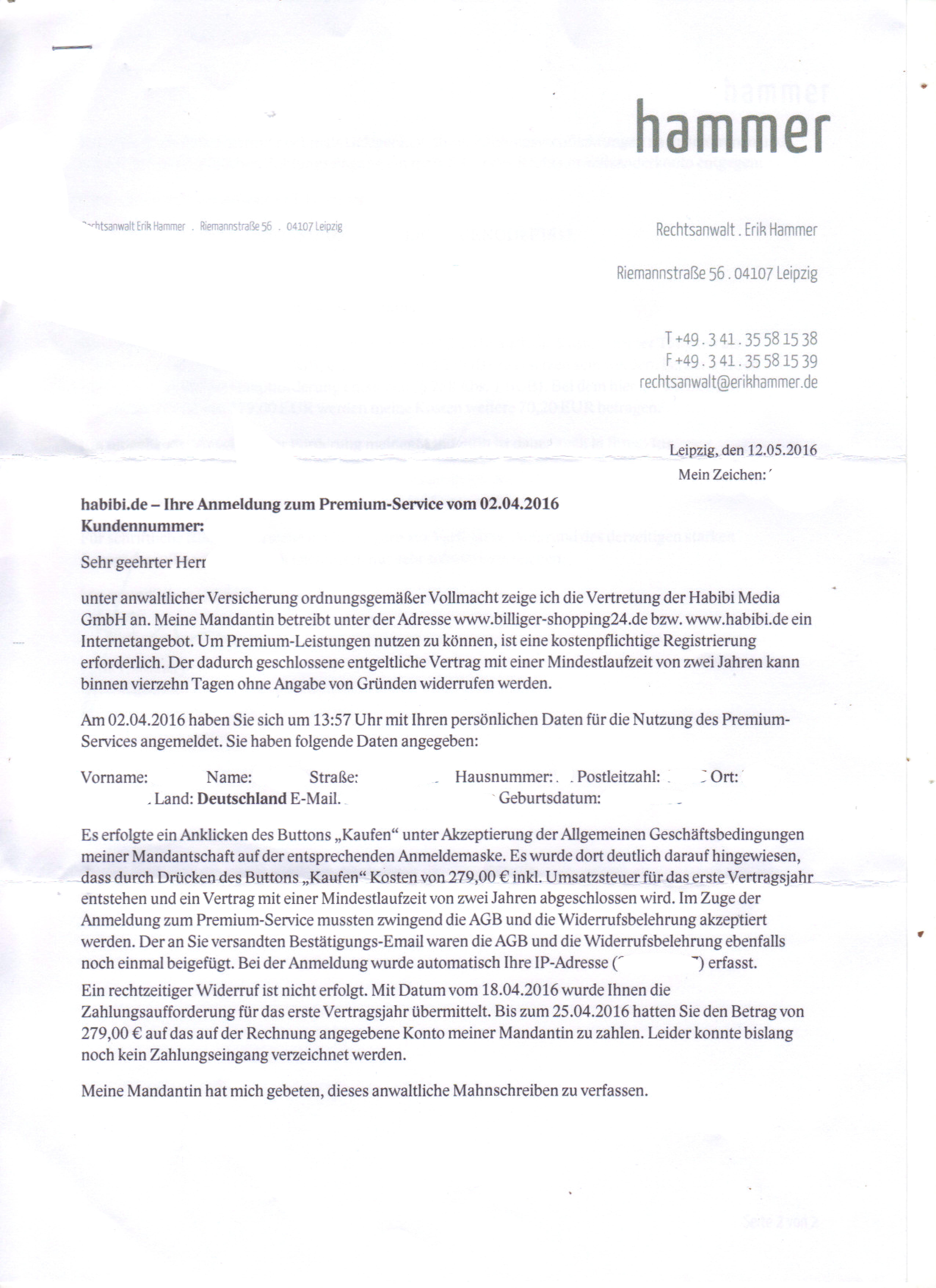 Brief Nach Zwei Tagen Nicht Da : Ich habe heute ein brief bekomme von rechtsanwalt erik
