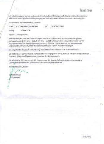 Ich Habe Heute Ein Brief Bekomme Von Rechtsanwalt Erik Hammer Ich