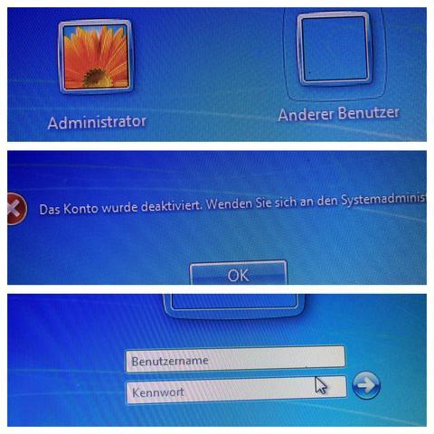 Mitte Administrator ausgewählt, unten Anderer Benutzer ausgewählt - (PC, Windows)