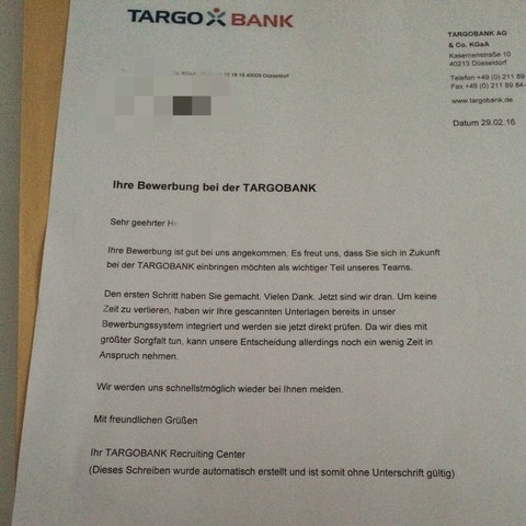 ich habe mich fr ein praktikumsplatz beworben und habe dann diese email und brief bekommen siehe bild freizeit ausbildung praktikum - Targobank Bewerbung
