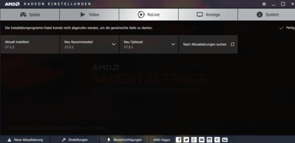 Ich kann den AMD Grafikkarten Treiber nicht aktualisieren?