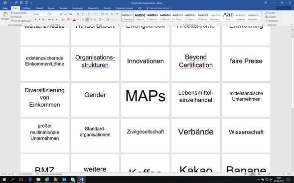 Screenshot der Wörter, die auf die Postits zentral abgebildet sollen - (Word, zentrale)