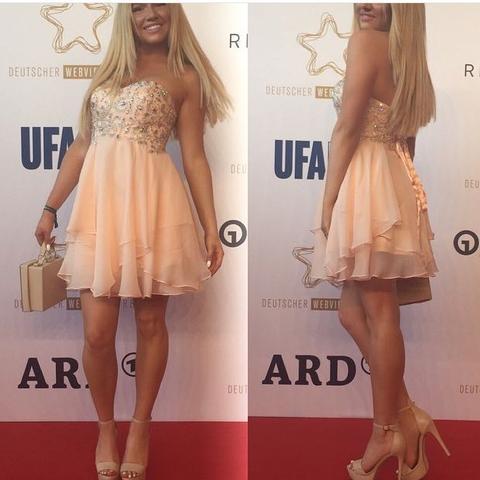 Shirin David Ballkleid beige/orange - (Kleid, Abschlussball, ballkleid)