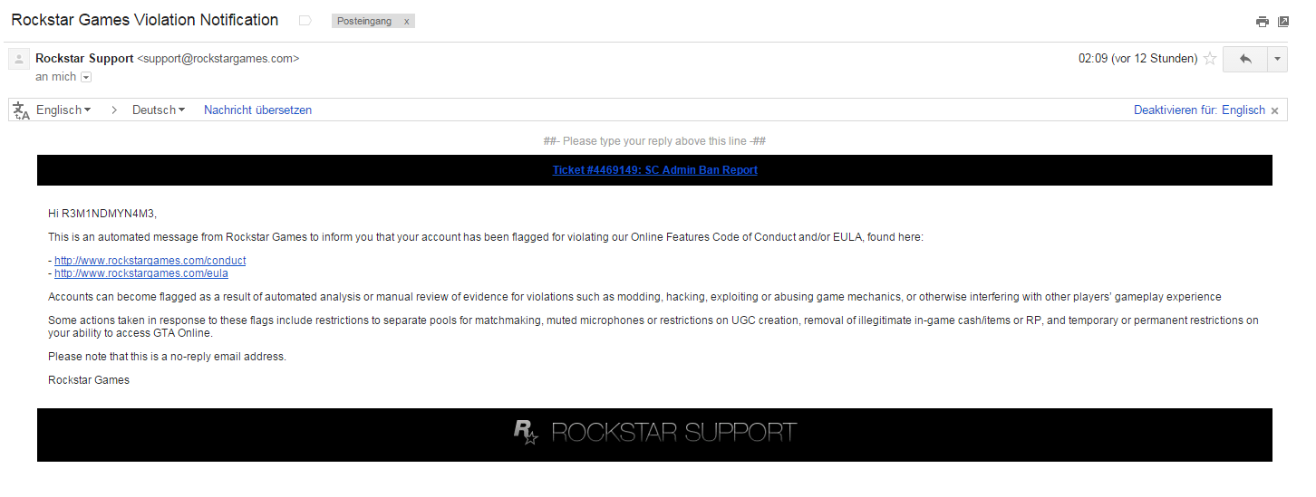 Ich wurde laut Rockstar Support nicht gebannt bin aber aus ...
