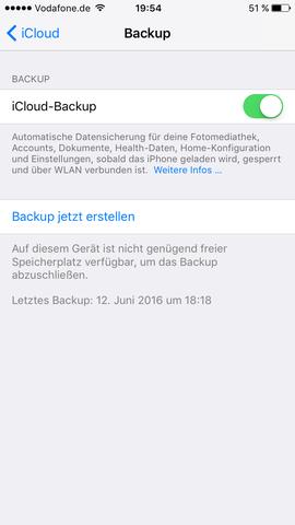 Backup funktioniert nicht, trotz neuen Speicher  - (iPhone, Apps, Speicher)
