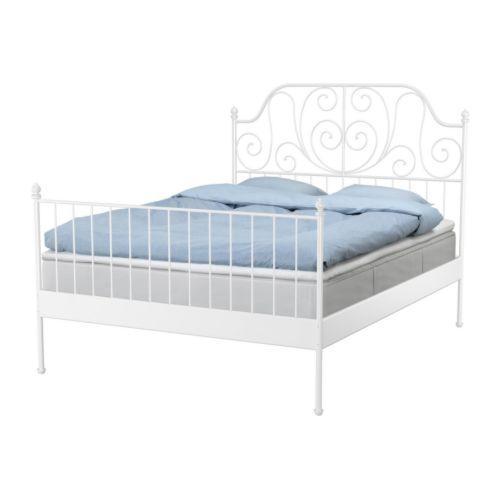 Metallbett weiß 140x200  IKEA -Betten. (Schlaf, Bett)