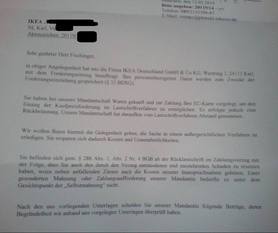 Ikea Fordert Statt 12 Euro Schlagartig Durch Inkasso 108 Euro Geld