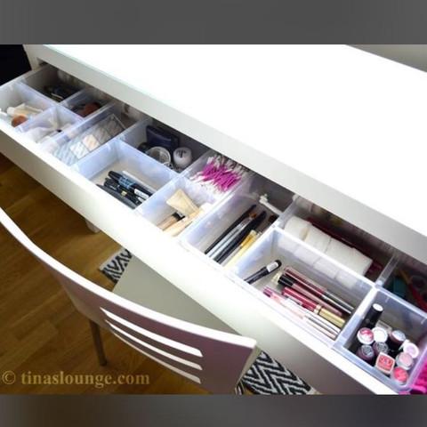 Ikea Malm Frisiertisch Aufbewahrungskasten? IKEAKosmetikAufbewahrung Schminktisch