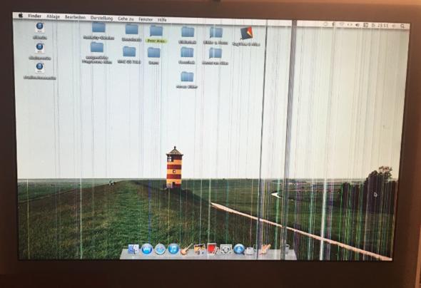 iMac 4.1 hat bunte Streifen auf dem Bildschirm? Liegt das eventuell an der Grafikkarte? Kann ich dem selbst Abhilfe schaffen?