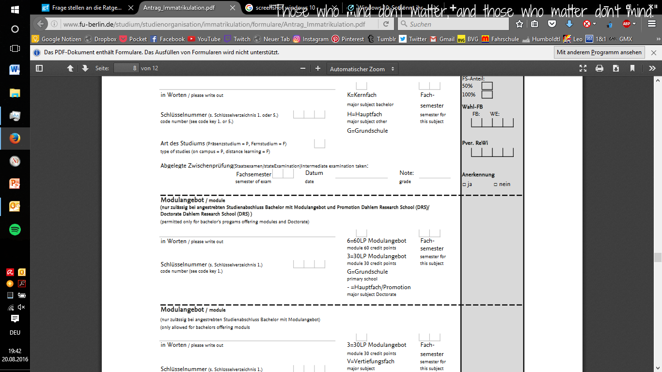 immatrikulationsantrag fu module bei monobachlor psychologie studium immatrikulation fu berlin - Fu Berlin Bewerbung