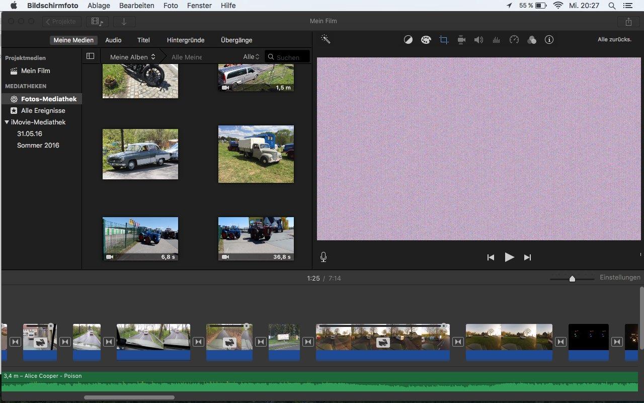 iMovie zeigt Fotos zwar an, bei der Wiedergabe des Film ...