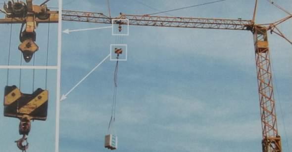 In dem Bild hebt der Kran eine Last 10 m hoch. Warum müssen dafür 40 m Stahlseil aufgerollt werden?