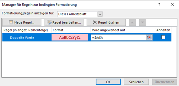 """In Excel """"doppelte Werte löschen"""" - Regel entfernen?"""