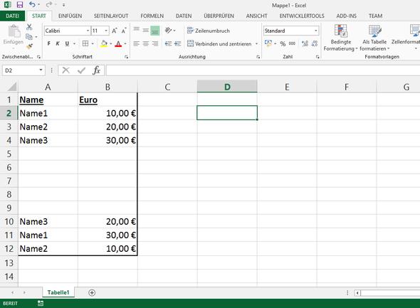 In Excel vba nach einem Namen suchen und (in Bezug dazu) Wert ...